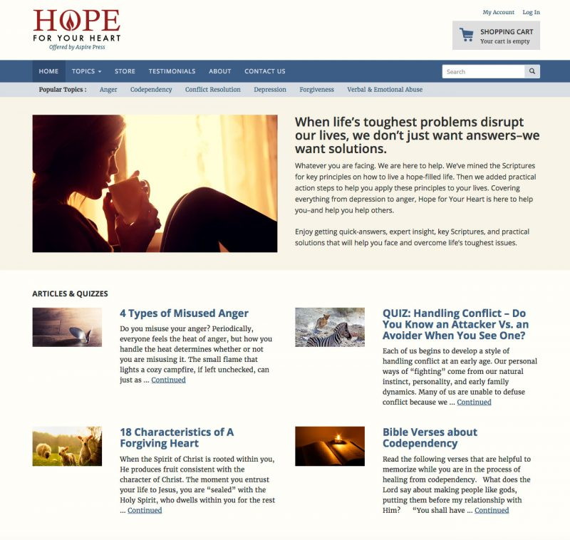 Hope for Your Heart Home Page screenshot
