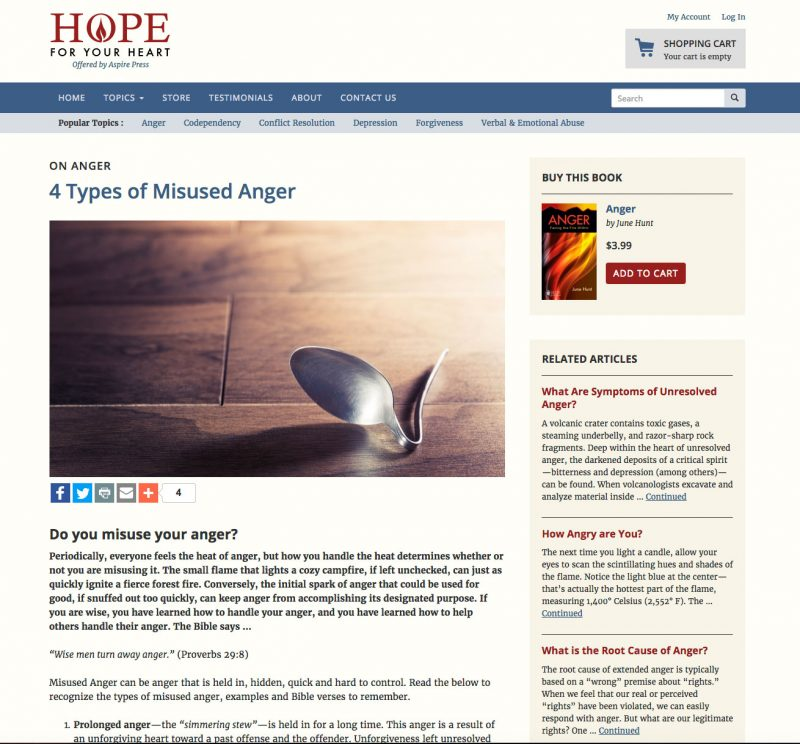 Hope for Your Heart Article Page screenshot