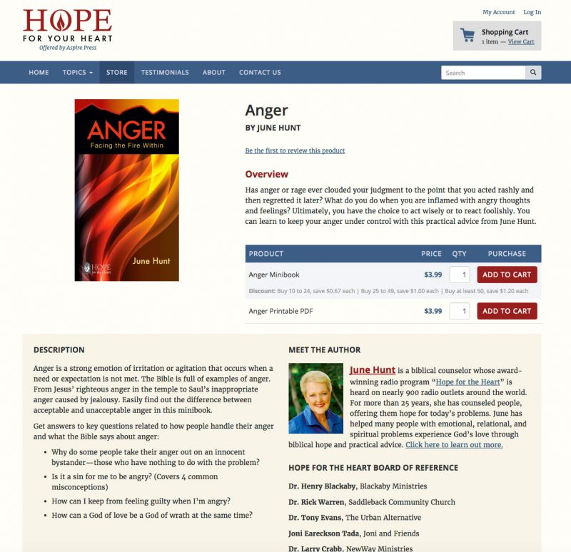 Hope for Your Heart Product Page screenshot