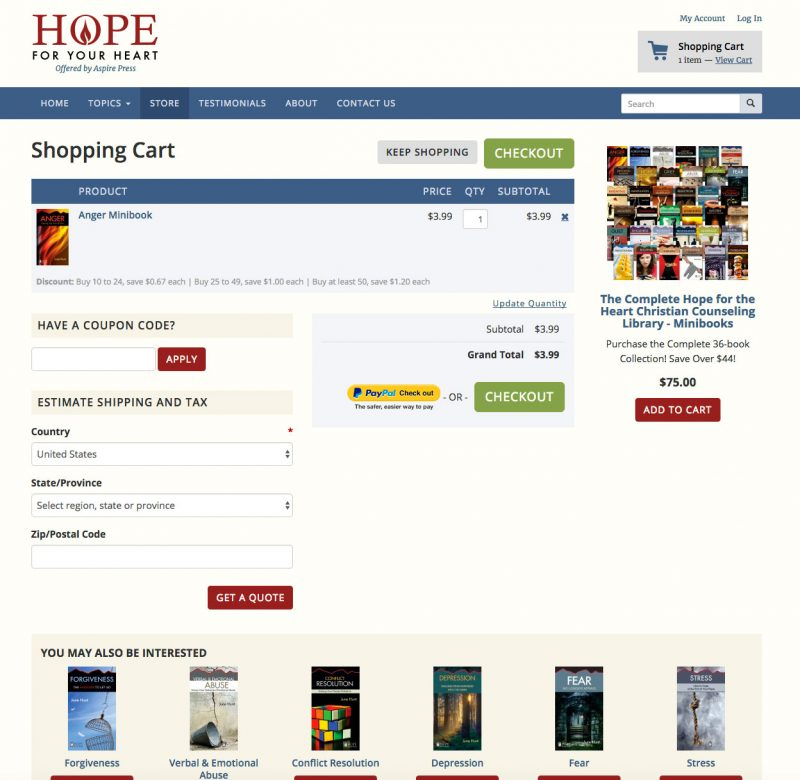 Hope for Your Heart Cart Page screenshot