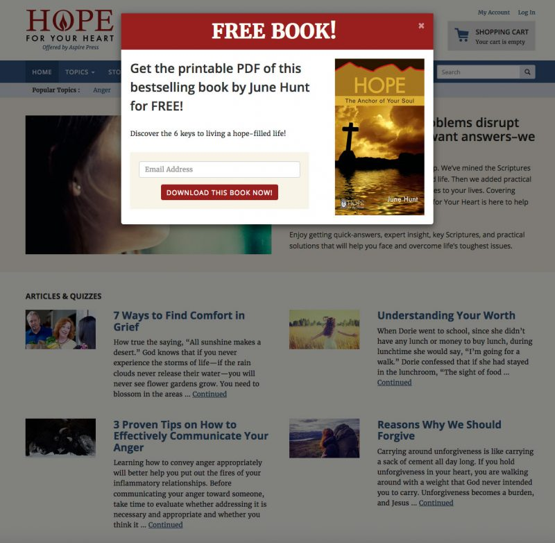 Hope for Your Heart Pop-up Modal screenshot